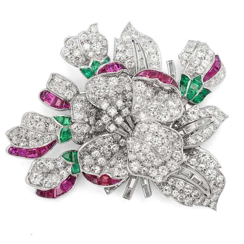 FoFo, die Juwelenbörse -  Broschenclip in Platin mit Diamanten, Rubinen und Smaragden