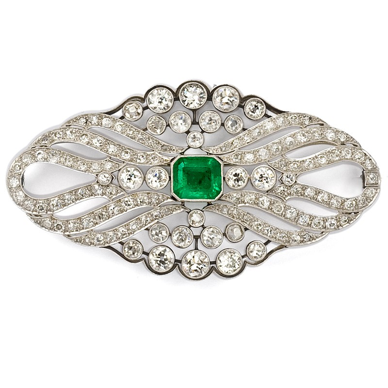 FoFo, die Juwelenbörse -  Smaragdbrosche | 18 Karat Weißgold | Smaragd ca. 3.90 ct. | Diamanten ca. 9.72 ct.