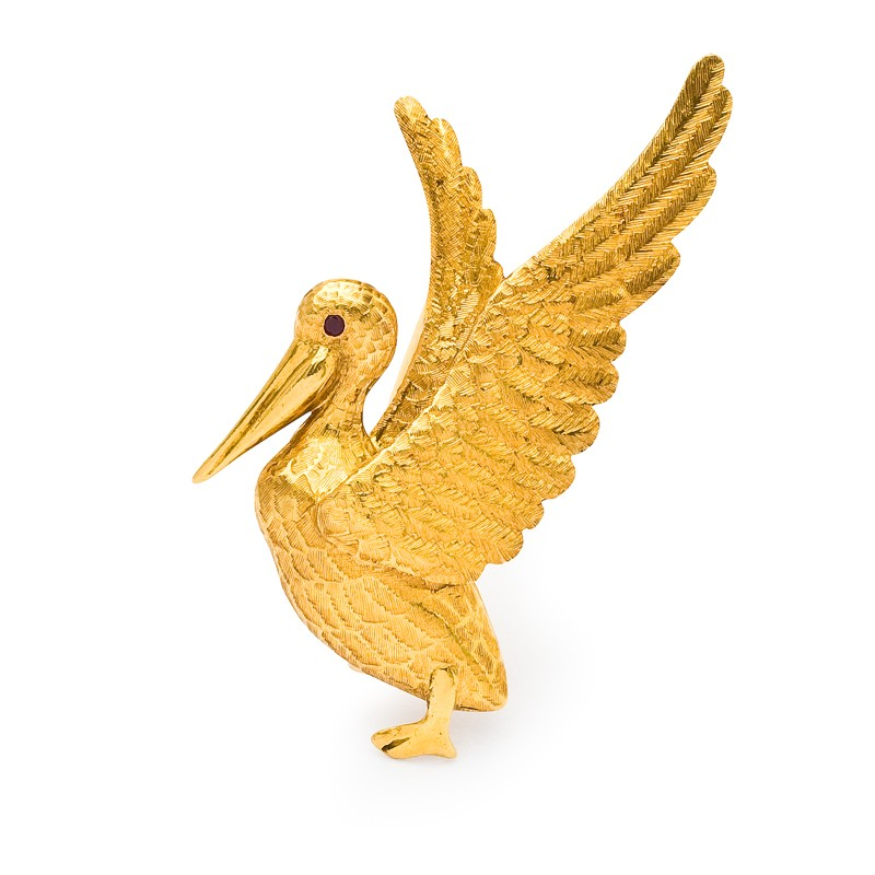 FoFo, die Juwelenbörse -  Pelikan-Brosche   18 Karat Gelbgold   Größe: 4,0 cm x 4,5 cm