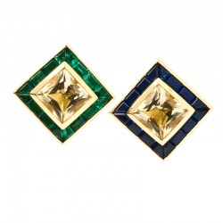 FoFo, München, Juwelenbörse, Schmuck, Ohrclips, Gelbgold, Goldberylle, Smaragd- und Saphircarrées