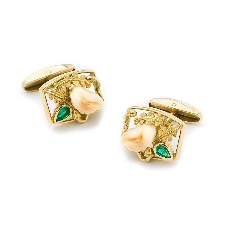 FoFo, die Juwelenbörse -  Manschettenknöpfe |18 Karat Gelbgold | Smaragdtropfen ca. 0.45 ct.