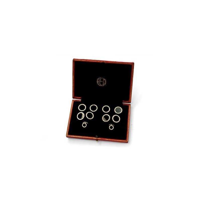 FoFo, die Juwelenbörse -  Frackset in Platin mit runden Onyxscheiben sowie kleinen Diamanten