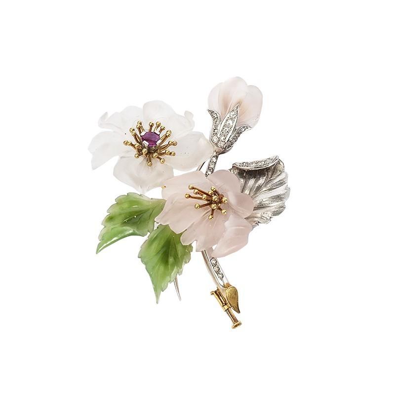 FoFo, die Juwelenbörse -  Blütenbrosche | 18 Karat Weiß- und Gelbgold | Diamanten