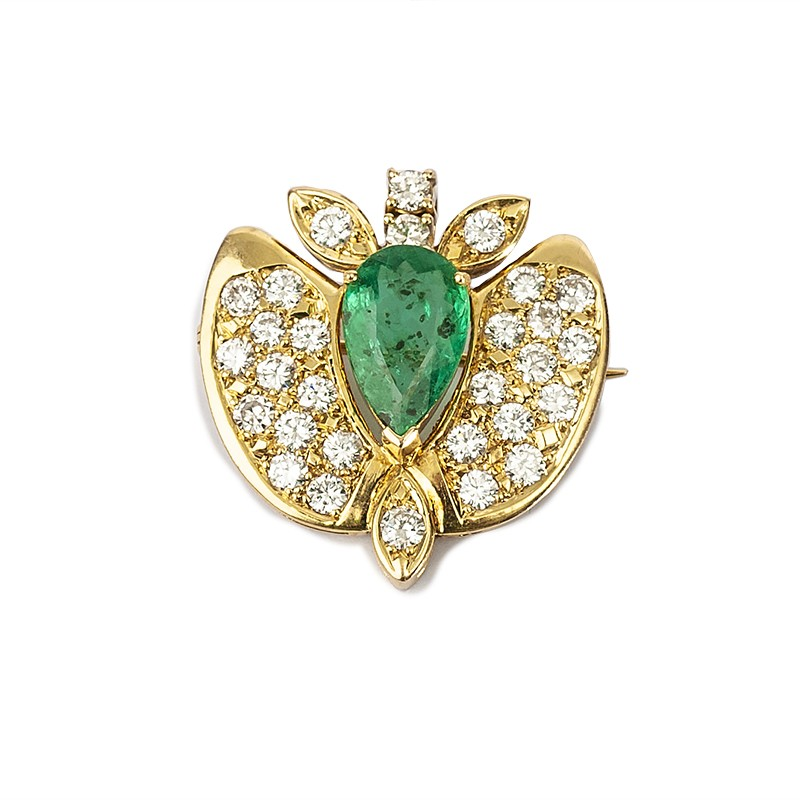 FoFo, die Juwelenbörse -  Broschenanhänger | 18 Karat Gelbgold |Smaragd ca. 2.70 ct. | Brillanten ca. 2.30 ct.