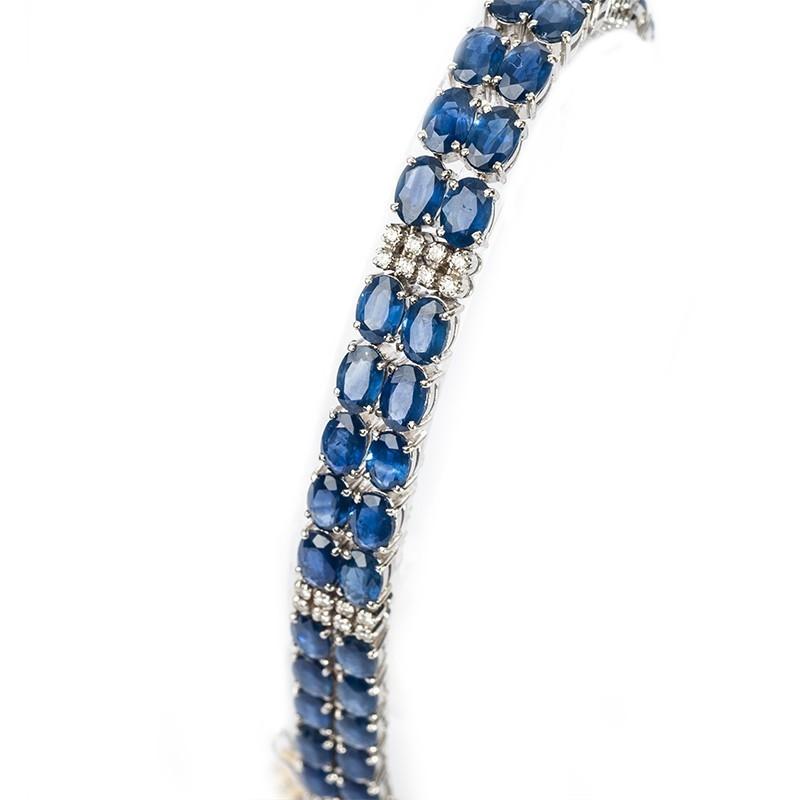 FoFo, die Juwelenbörse -  Armband | 18 Karat Weißgold | Saphire ca. 25 ct. | Brillanten ca. 0.40 ct.
