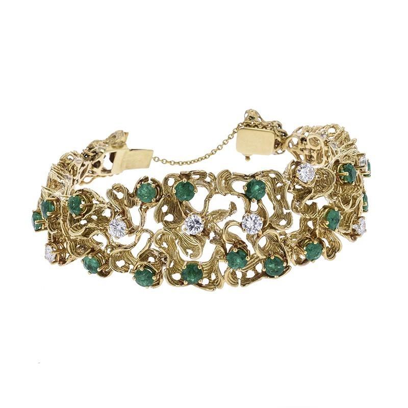 FoFo, die Juwelenbörse -  Armband in Gelbgold, Diamanten ca. 1,8 ct., Smaragde ca. 2,7 ct.