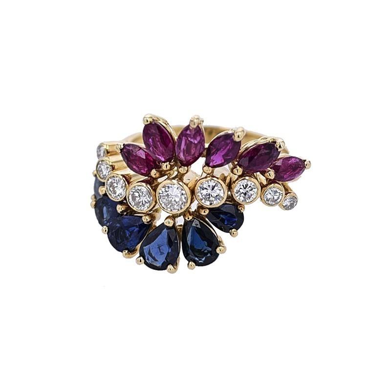FoFo, die Juwelenbörse -  Ring gearbeitet in 750/°°° Gelbgold gefasst sind facettierte Rubinnavetten und Saphirtropfen