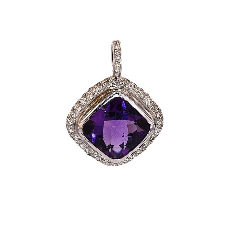 FoFo, die Juwelenbörse -  Anhänger |18 Karat Weißgold |Amethyst ca. 11 ct. |Diamanten ca. 0.8 ct.