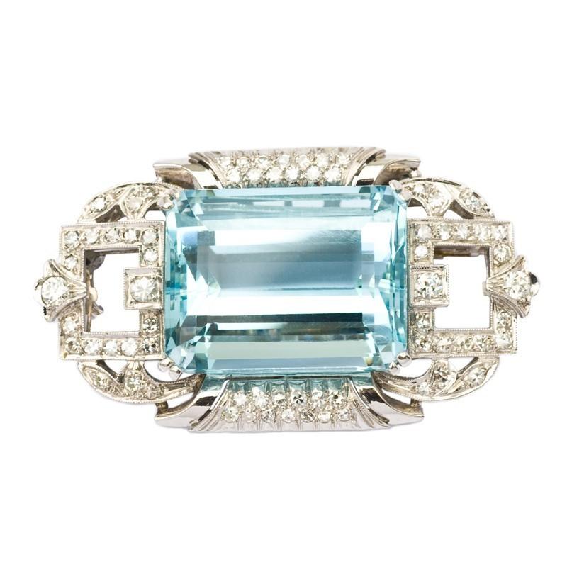 FoFo, die Juwelenbörse -  Art Deco Brosche | 14 Karat Weißgold | Aquamarin ca. 45 ct. | Diamanten ca. 1.30 ct.