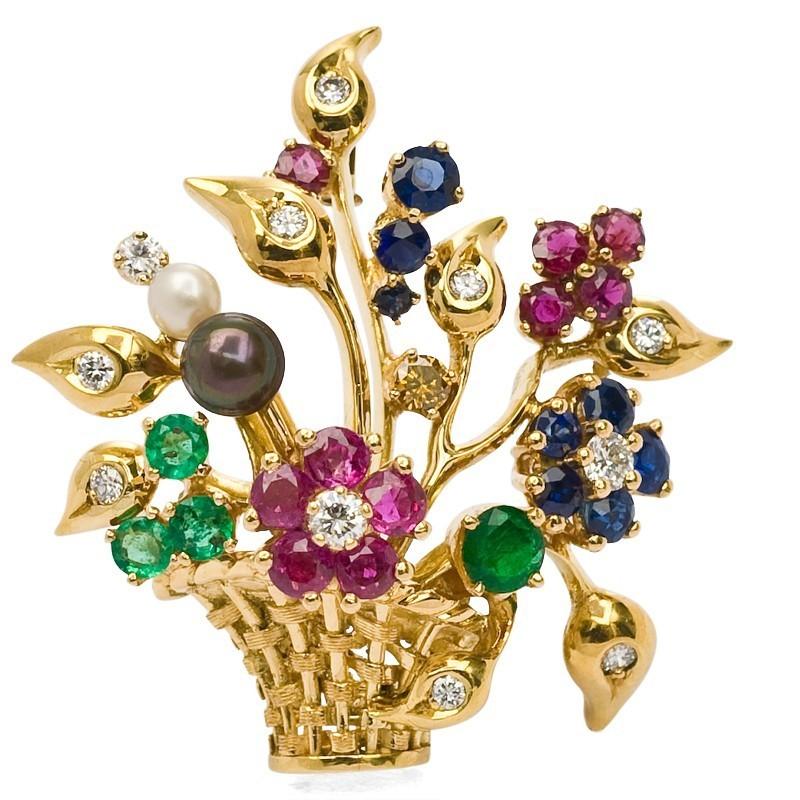 FoFo, die Juwelenbörse -  Blumenbrosche | 18 Karat Gelb- und Weißgold |Brillanten ca. 0.35 ct.