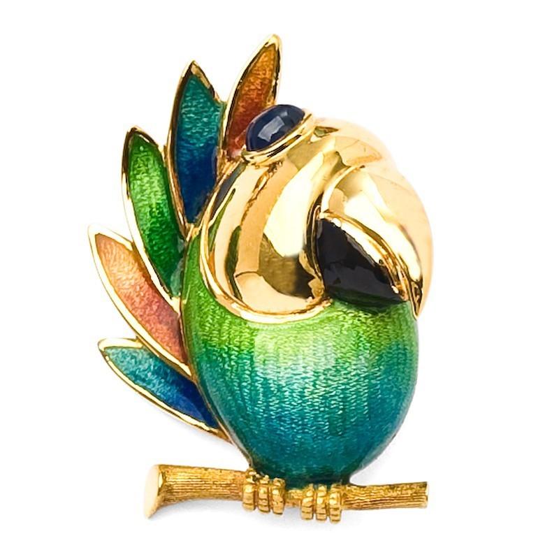 FoFo, die Juwelenbörse -  Papagei-Brosche | 18 Karat Gelbgold |Saphircabochon ca. 0.6 ct.