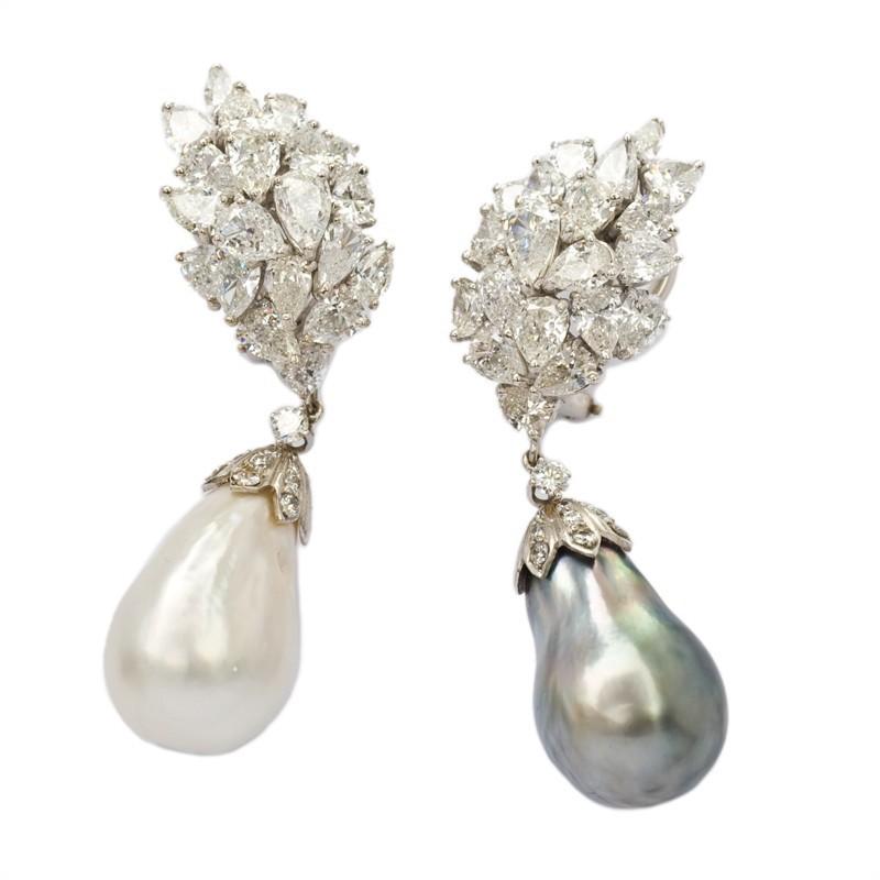 FoFo, die Juwelenbörse -  Ohrgehänge | 14 Karat Weißgold | Diamanttropfen ca. 13.20 ct. |Diamanten ca. 0.30 ct.