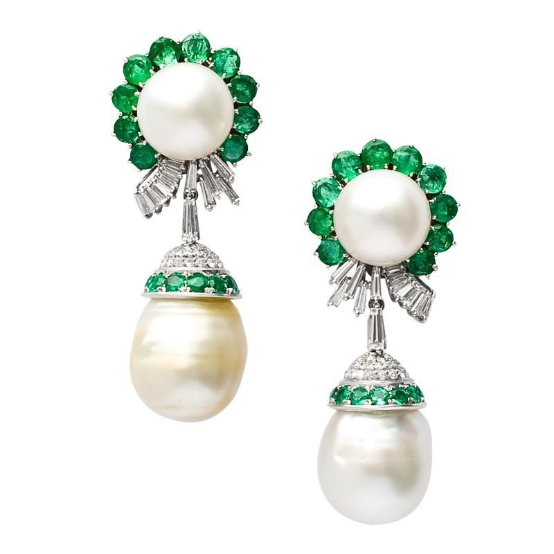 FoFo, die Juwelenbörse -  Ohrgehänge   18 Karat Weißgold und Platin   Südseezuchtperlen  Brillanten ca. 2.50 ct.