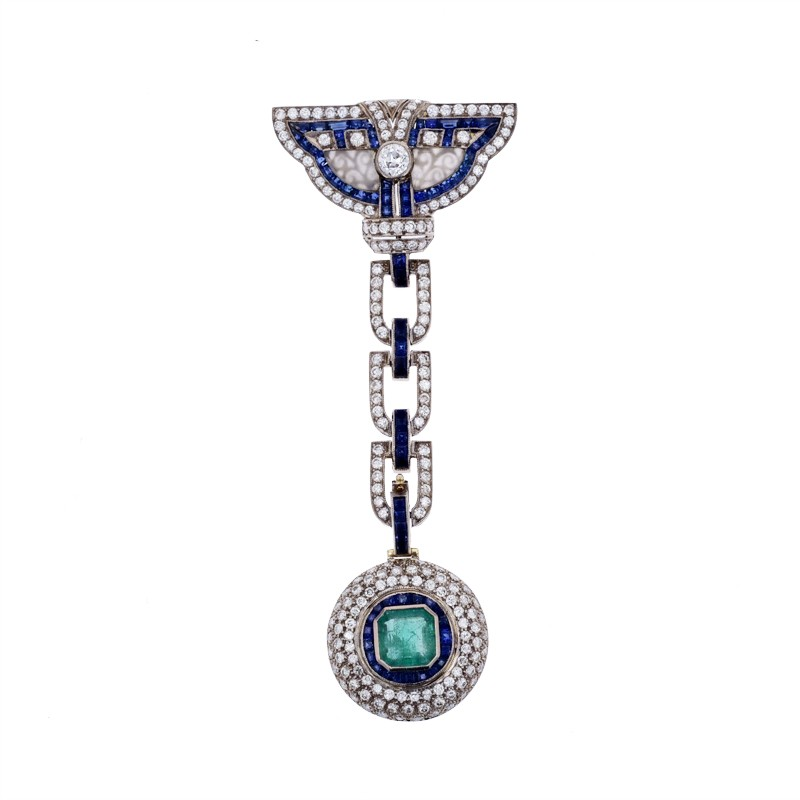 FoFo, die Juwelenbörse -  Brosche | 18 Karat Gold |Smaragd ca. 1.8 ct. | Diamanten ca. 3 ct.