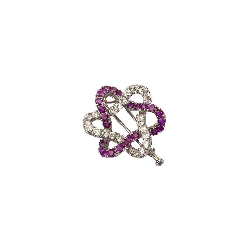FoFo, die Juwelenbörse -  Brosche | 18 Karat Weißgold | Brillanten ca. 2 ct. | Rubine 2 ct.