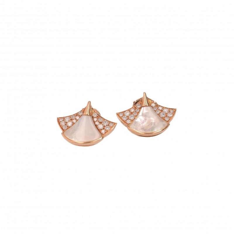 FoFo, die Juwelenbörse -  Ohrstecker von Bulgari in Roségold, Diamanten ca. 0,4 ct., Perlmutteinlagen