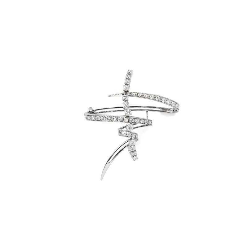 FoFo, die Juwelenbörse -  Brosche in geschwungener Form in Weißgold, Diamanten