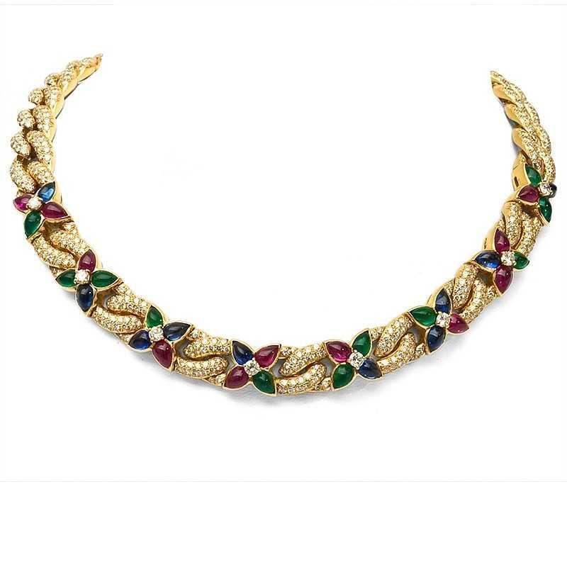 FoFo, die Juwelenbörse -  Collier von BOUCHERON in Gelbgold, Rubine, Saphire, Smaragde, Brillanten