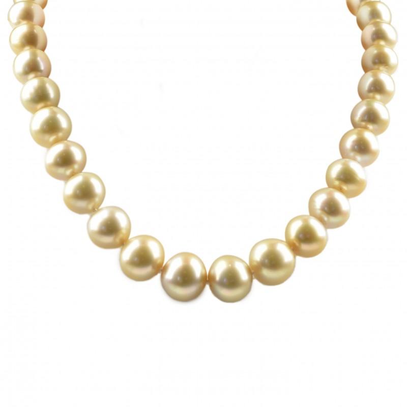FoFo, die Juwelenbörse -  Südseezuchtperlenkette   Schloß in 18 Karat Gelbgold   Diamanten