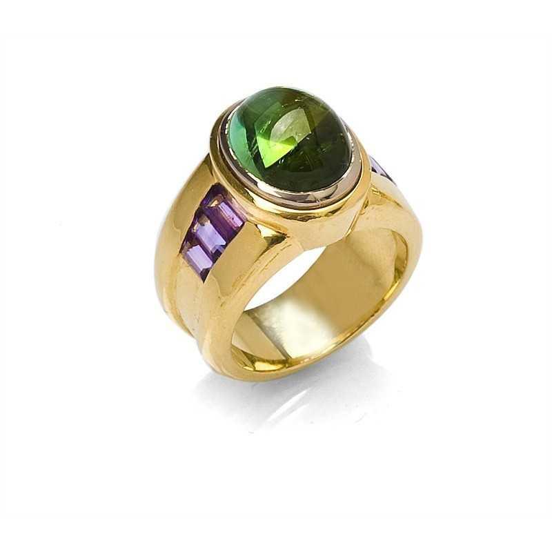 FoFo, die Juwelenbörse -  Ring in Gelbgold und Weißgold, ovaler Turmalincabochon, Amthyste