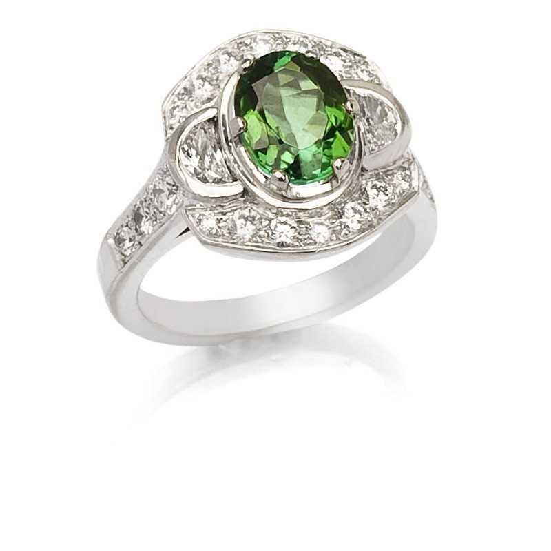 FoFo, die Juwelenbörse -  Ring in Weißgold, grüner Turmalin, Diamanten