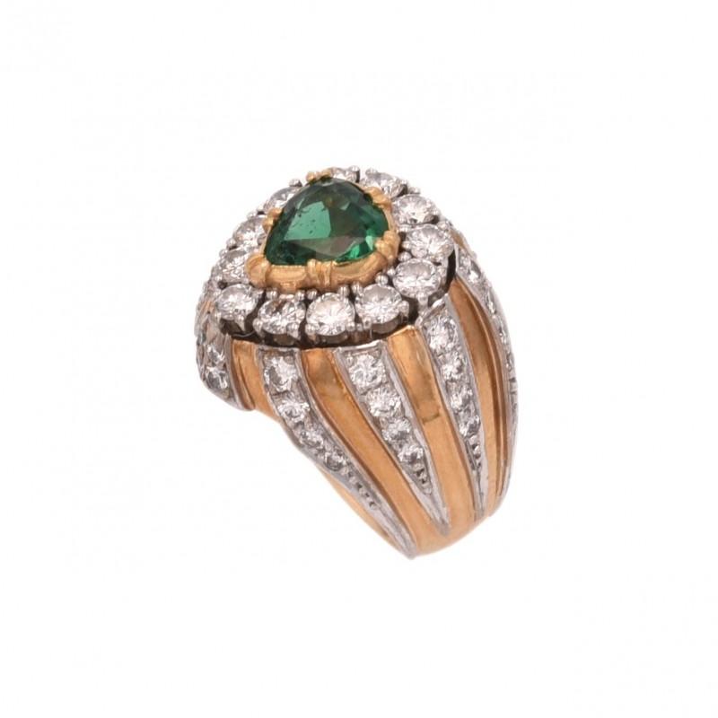 FoFo, die Juwelenbörse -  Vitzthum-Ring | 18 Karat Gelb- und Weißgold | Smaragd-Tropfen ca. 0.90 ct.