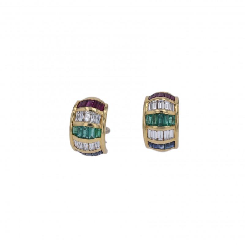 FoFo, die Juwelenbörse -  Ohrclips | 18 Karat Gelbgold | Diamanten ca. 0.95 ct. | Saphire und Rubine ca. 2.00 ct.
