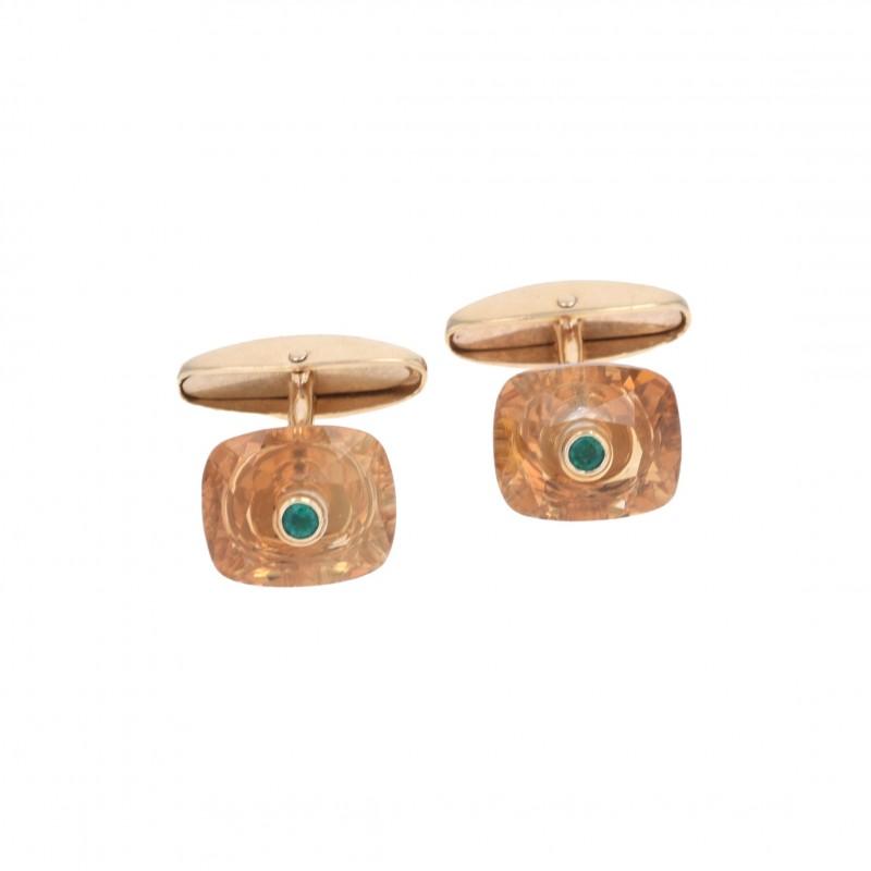 FoFo, die Juwelenbörse -  Manschettenknöpfe | 18 Karat Gelbgold | Citrin | Smaragd