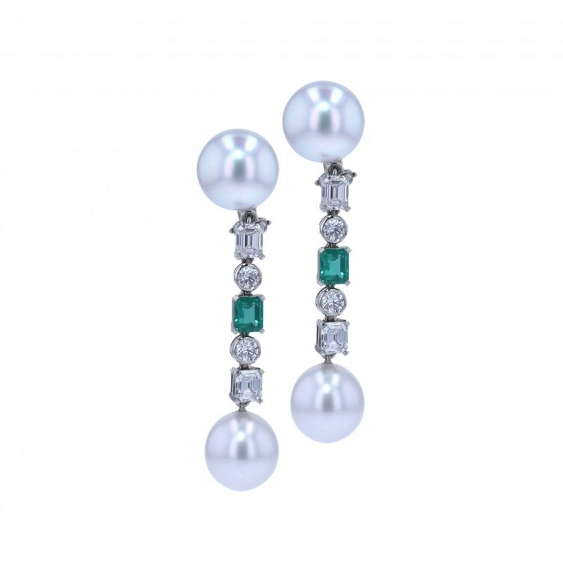 FoFo, die Juwelenbörse -  Ohrgehänge | 950 Platin | Smaragde & Brillanten | Baguette-Diamanten ca. 1,70 ct.