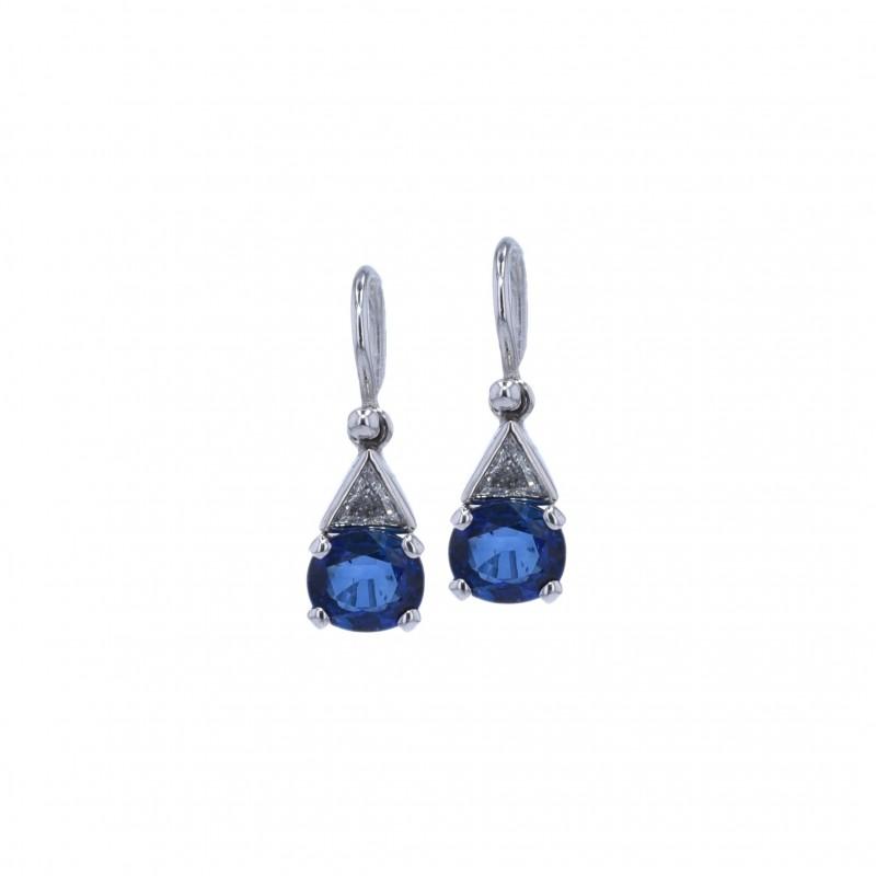 FoFo, die Juwelenbörse -  Ohrhänger | 18 Karat Weißgold | Saphire ca. 2.00 ct. | Diamanten ca. 0.25 ct.