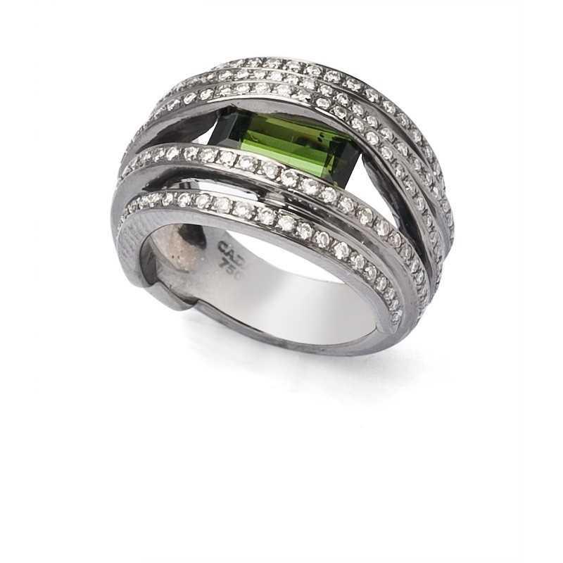"""FoFo, die Juwelenbörse -  Ring von CADA """"Twist"""" in Weißgold, Turmalin, Diamanten"""