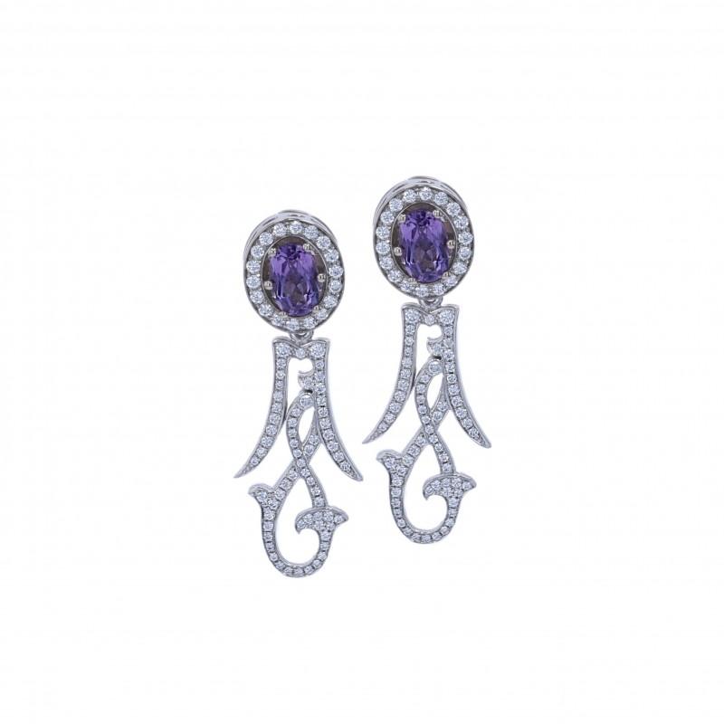 FoFo, die Juwelenbörse -  Ohrgehänge | 18 Karat Weißgold | Amethyste ca. 1.20 ct. | Brillanten 0.74 ct.