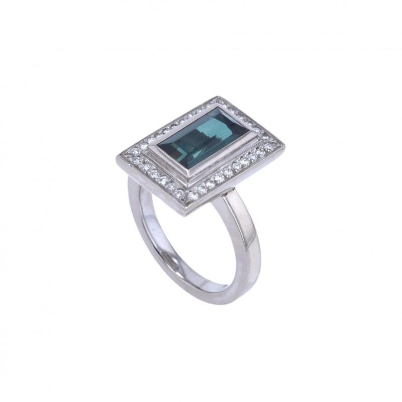 FoFo, die Juwelenbörse -  Ring | 18 Karat Weißgold | Turmalinmittelstein ca. 2.5 ct.