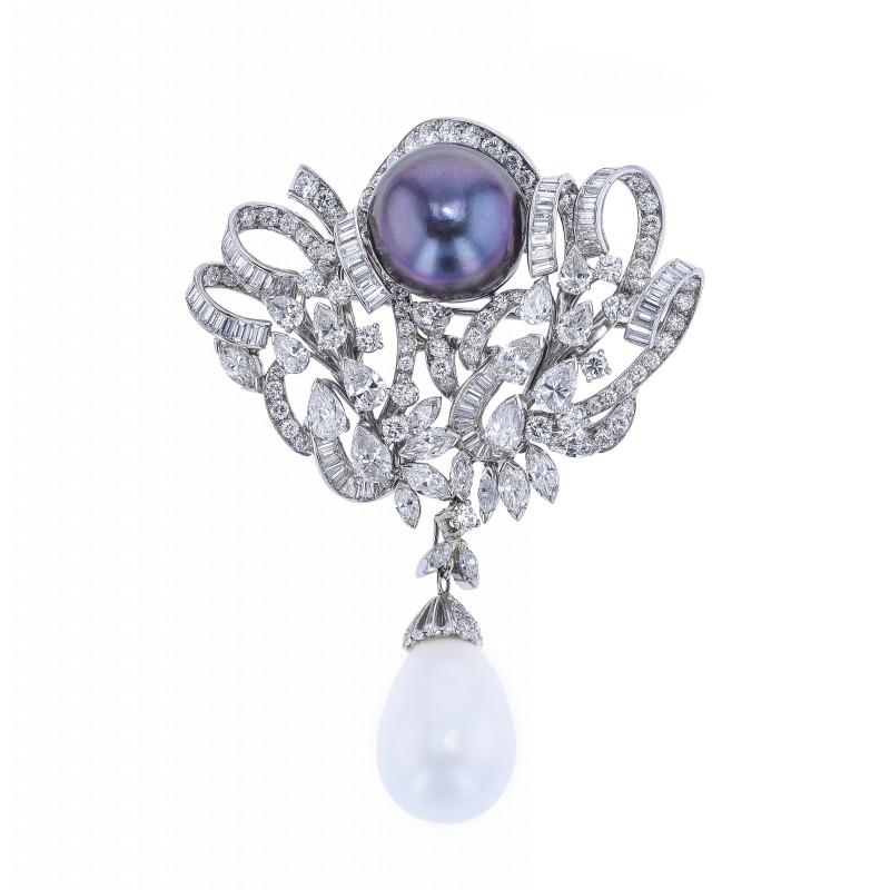 FoFo, die Juwelenbörse -  Brosche | 950 Platin | Brillanten ca. 6,48 ct. | Diamanten ca. 3 ct. | Tahitizuchtperle