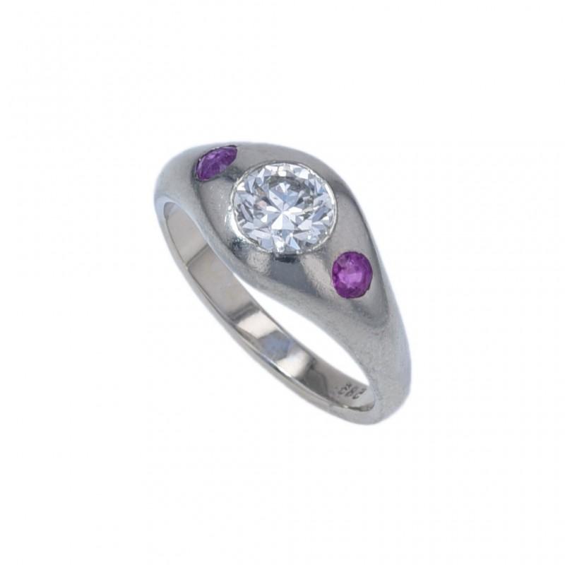 FoFo, die Juwelenbörse -  Bandring in Weißgold, Diamant ca. 0,70 ct., Farbsteine