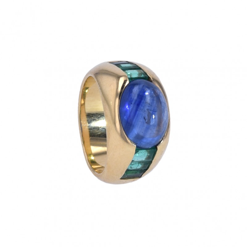 FoFo, die Juwelenbörse -  Ring   18 Karat Gelbgold   Saphir ca. 5.4 ct.   Smaragde ca. 0.48 ct.