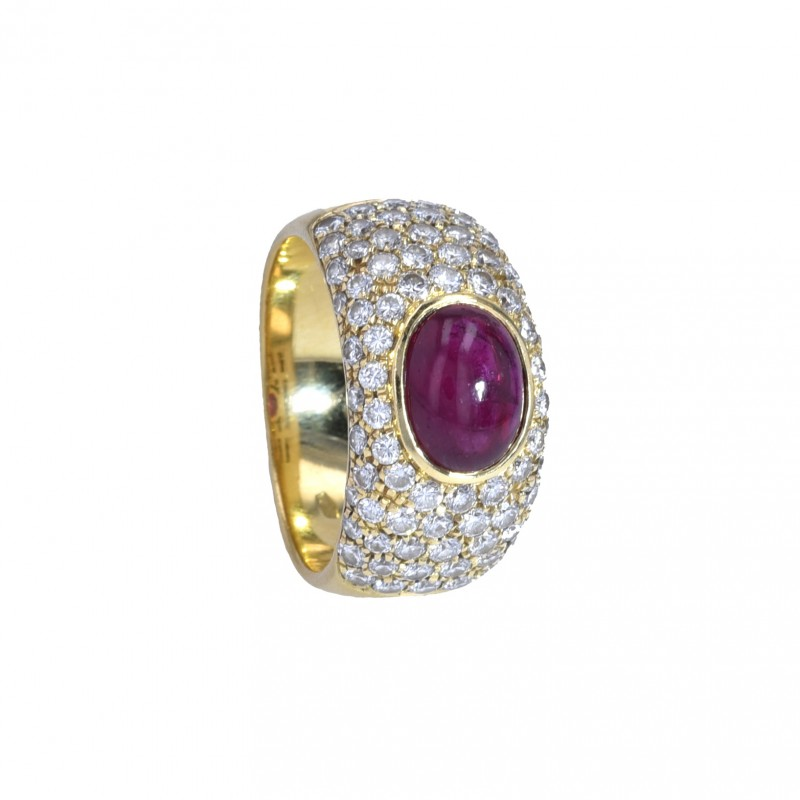 FoFo, die Juwelenbörse -  Ring | 18 Karat Gelbgold | Rubin ca. 2.7 ct. | Diamanten ca. 1.5 ct.