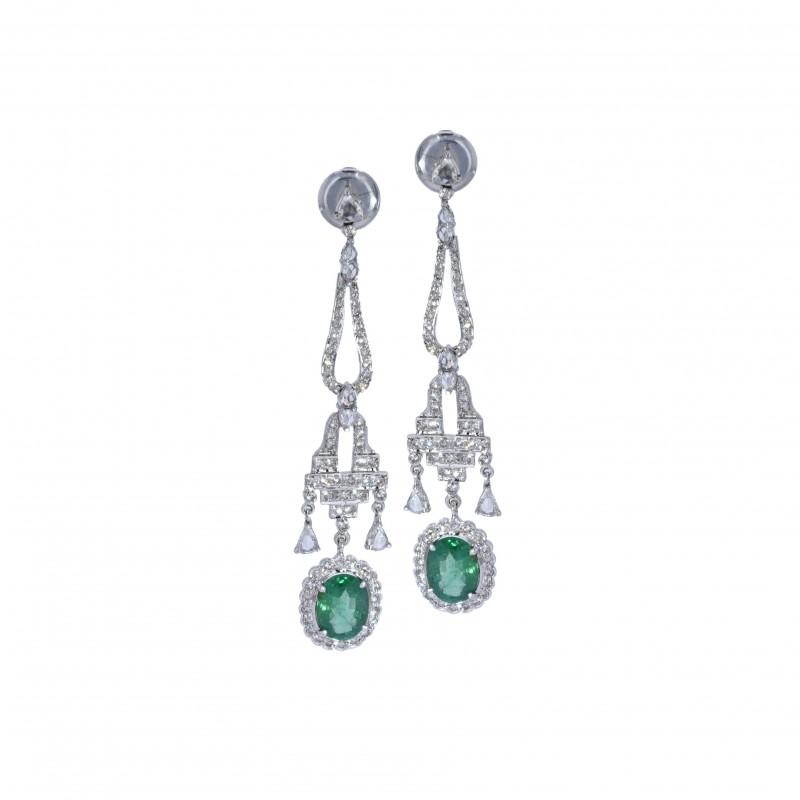 FoFo, die Juwelenbörse -  Ohrhänger | 18 Karat Weißgold | Diamanten ca. 1.8 ct. | Smaragde ca. 4 ct.