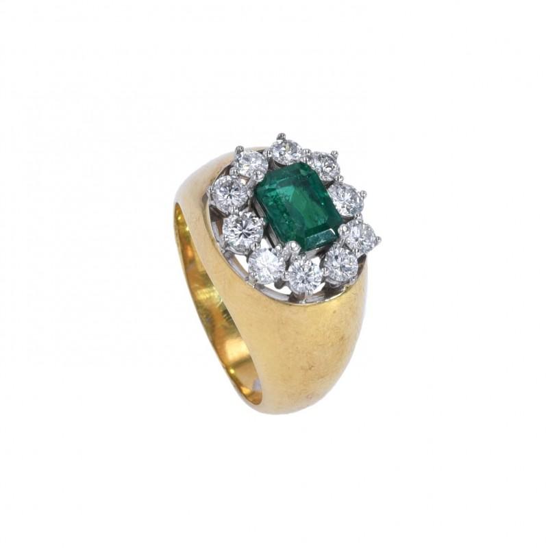FoFo, die Juwelenbörse -  Ring von Rave | 18 Karat Gelbgold | Smaragd ca. 0.98 ct. |Brillanten ca. 0.84 ct.