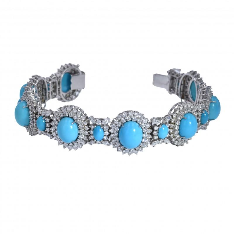FoFo, die Juwelenbörse -  Armband |18 Karat Weißgold | Türkiscabochons |Diamanten ca. 8.5 ct.