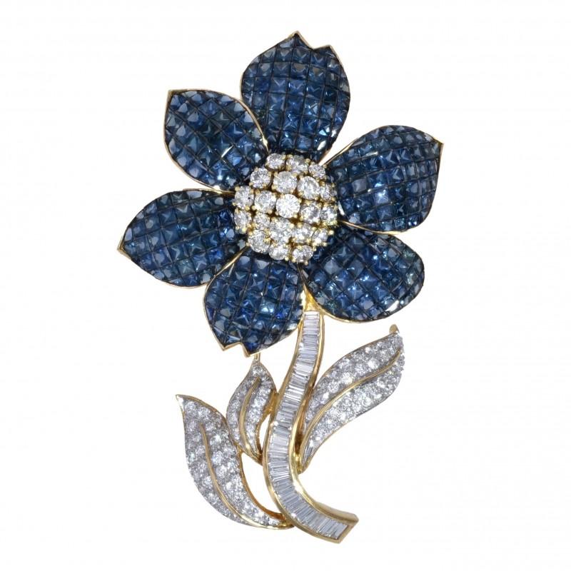 FoFo, die Juwelenbörse -  Blüten-Brosche   18 Karat Gelbgold   Saphire ca. 18 ct.  Diamanten ca. 8 ct.
