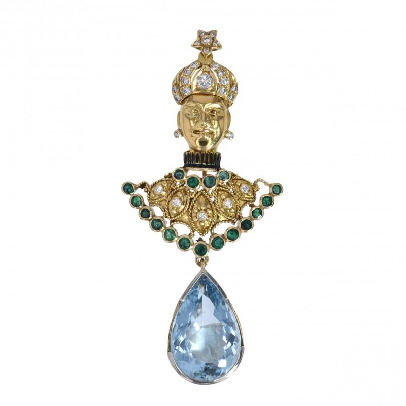 FoFo, die Juwelenbörse -  Broschen-Anhänger   18 Karat Gelbgold   Smaragde ca. 0.9 ct.   Aquamarin ca. 10 ct.