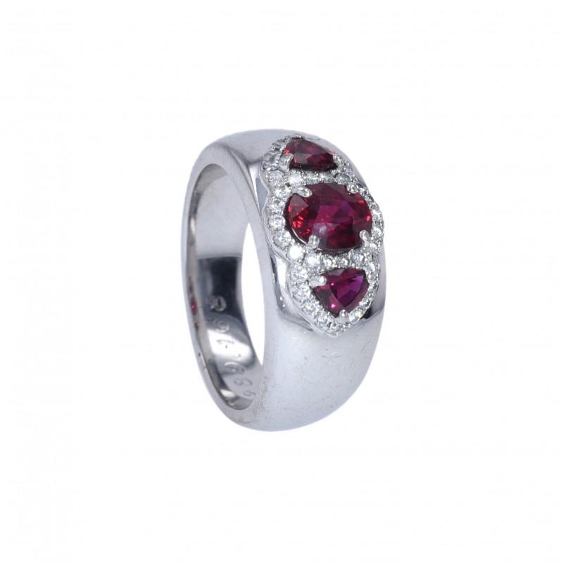 FoFo, die Juwelenbörse -  Ring   18 Karat Weißgold  Rubin ca. 1.50 ct.  Brillanten ca 0.51 ct.
