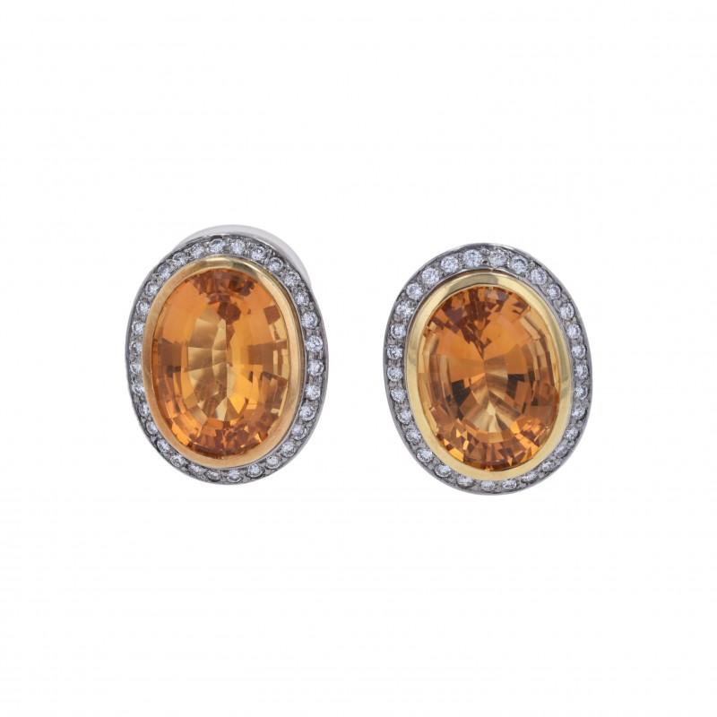 FoFo, die Juwelenbörse -  Rave-Ohrclips   18 Karat Gelb- und Weißgold   Citrine ca. 18 ct.   Brillanten ca. 0.7 ct.