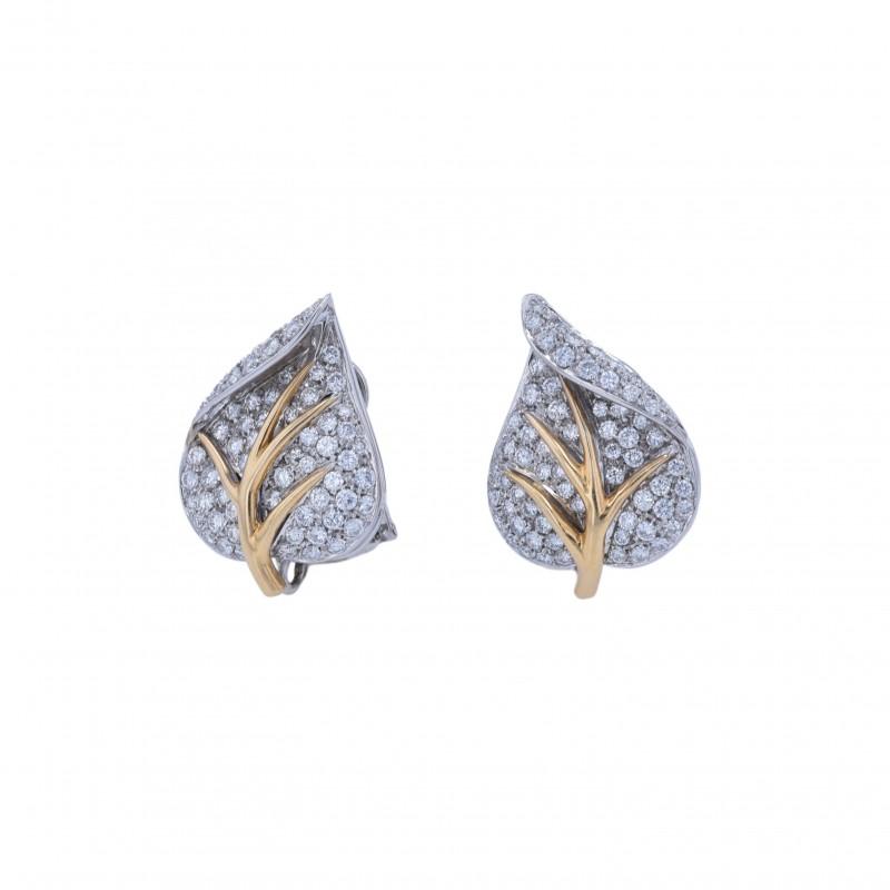 FoFo, die Juwelenbörse -  Ohrclips in Blattform |18 Karat Weiß- und Gelbgold |Brillanten ca. 1.2 ct.