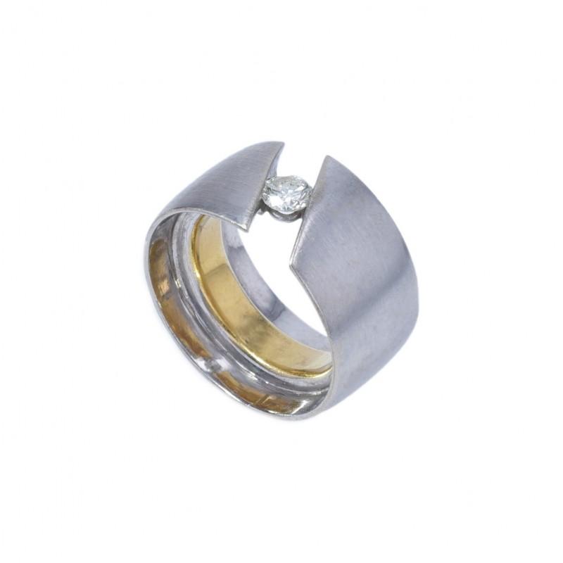 FoFo, die Juwelenbörse -  Ring   18 Karat Weiß- und Gelbgold  Brillant ca. 0.35 ct.