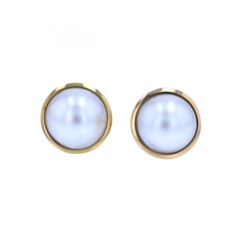 FoFo, die Juwelenbörse -  Ohrstecker | weiße Mabézuchtperlen | 18 Karat Gelbgold