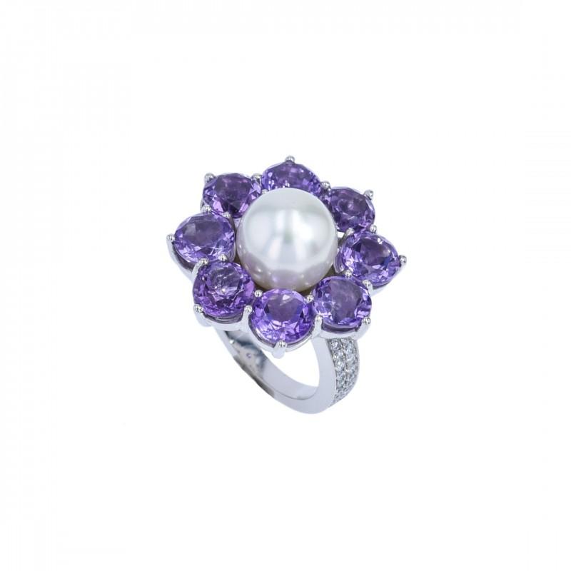 FoFo, die Juwelenbörse -  Ring |950 Platin |Amethyste |weiße Zuchtperle | Brillanten 0.32 ct.