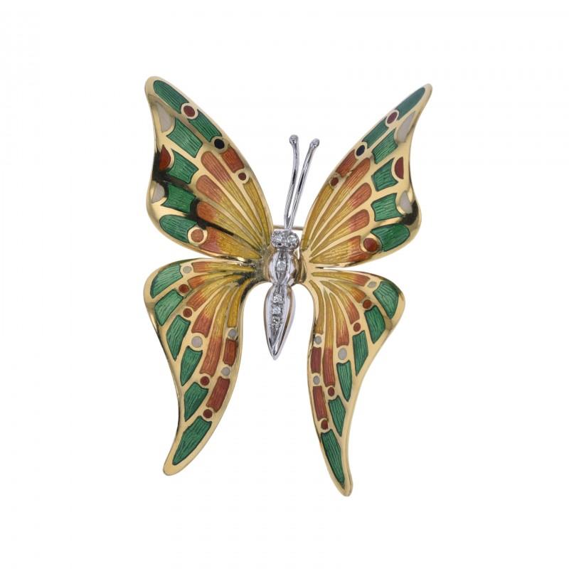 FoFo, die Juwelenbörse -  Schmetterlingsbrosche | 18 Karat Gelb- und Weißgold | Diamanten