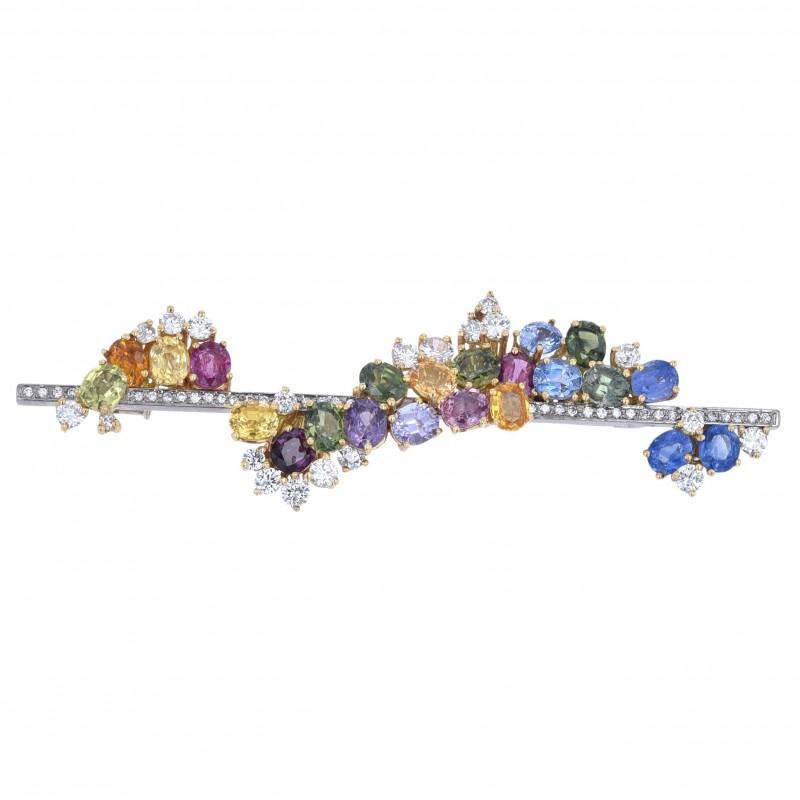 FoFo, die Juwelenbörse -  Stabbrosche von Rave | 18 Karat Weiß- und Gelbgold |Saphire |Diamanten ca. 1.5 ct.